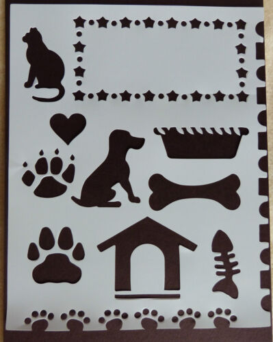 Plastic//PVC//Coated//Paper//Stencil//Multi////Dog//Cat//Bone//Kennel//Paw//Print//NEW