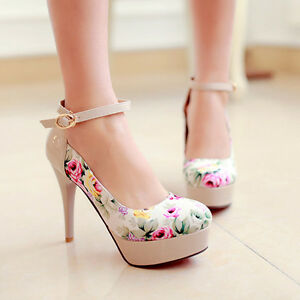 Women-Sexy-Ankle-Strap-High-Heels-Flower-Platform-Party-Pumps-Shoes-Size-33-42