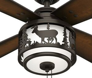 New 52 hunter premier bronze 2 light ceiling fan lodge cabin image is loading new 52 034 hunter premier bronze 2 light mozeypictures Image collections