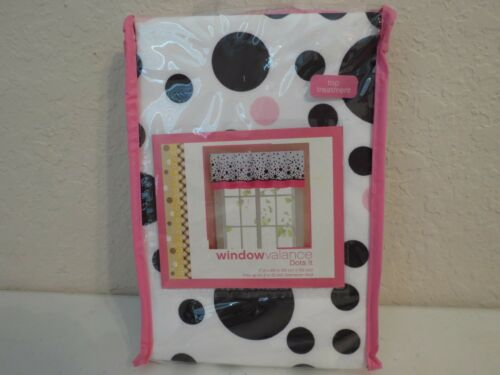 Window Valance Polka Dots Black Pink NIB