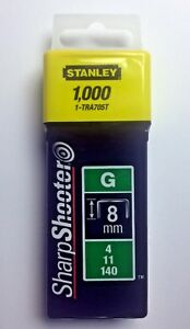Pack of 1000 Heavy Duty 8 mm Stanley Sharp Shooter Staples Type G, 4, 11, or 140