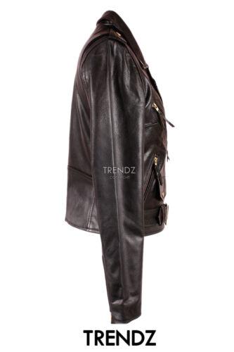 Donna Brando Oro Nero Classico Stile Biker Reale Giacca in Pelle Cuoio Moda