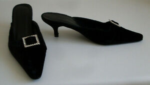 BODEN-Black-Slip-On-Pointed-Toe-Diamond-Gem-Mules-Shoes-Size-EU-41-UK-7-5-US-8-5
