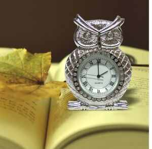 Mini Owl Miniature Metal Clocks Color Silver Decoration Birthday Presents Gift