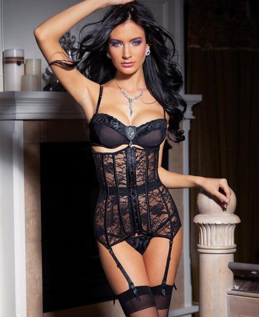 Black Stretch Lace Waist Cincher - Coquette 3394
