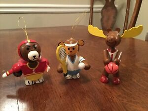 Vintage Wood Tennis Girl Christmas Ornament 1984 Disney