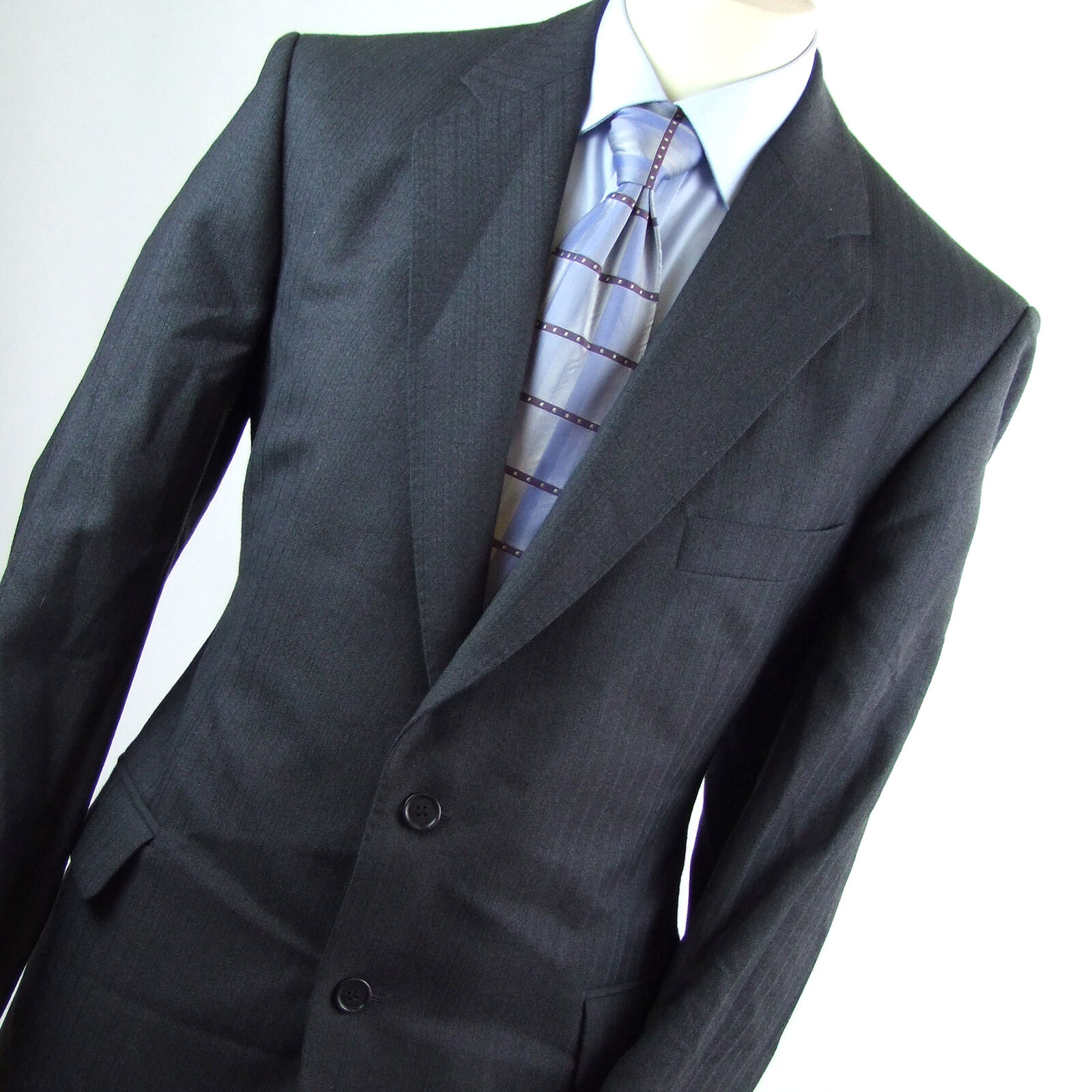 Magee Mens bluee Striped Wool Single Breasted Suit 44 40 (Short)
