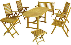 Garden furniture Set 8 pieces Folding chair table bench Stool FSC Wood Akaz