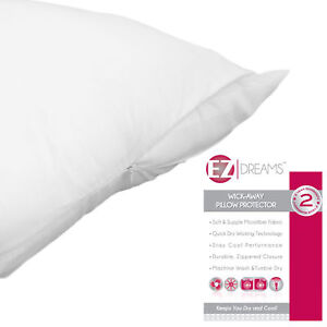 Single (1) Queen Size Zippered Pillow Protector:Quic<wbr/>k Dry, Stay Cool, Microfiber