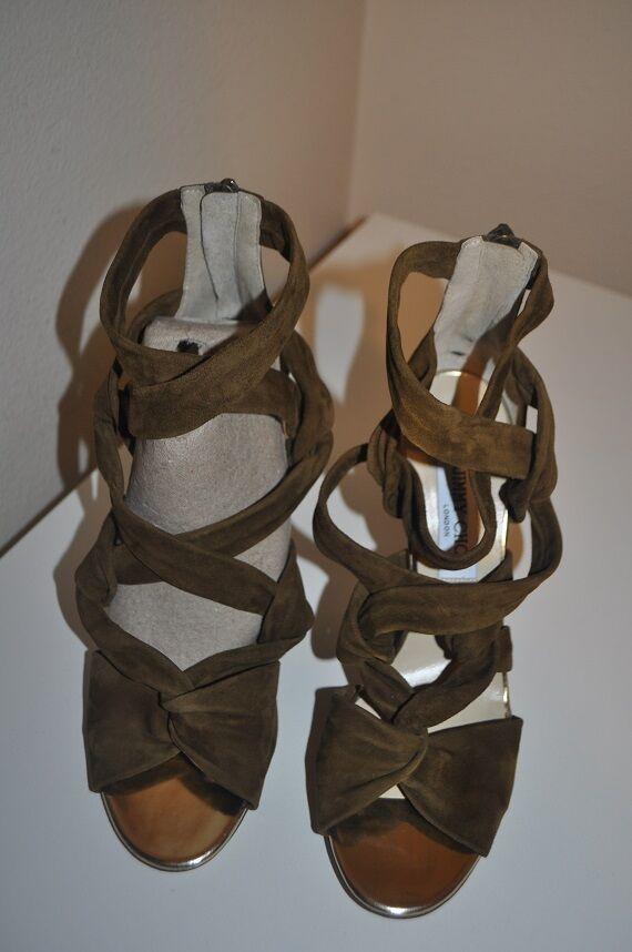 1,095 Jimmy Choo Zapatos Kami Sandalia Zapatos Choo de tacón de gamuza con Tiras Ejército verde Oliva 39.5 -9 f64884