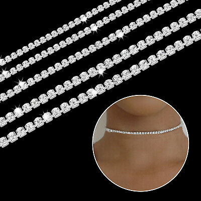 1m Diamante Rhinestone with Round Oval Pearl Chain Lace Fashion Craft Clothing