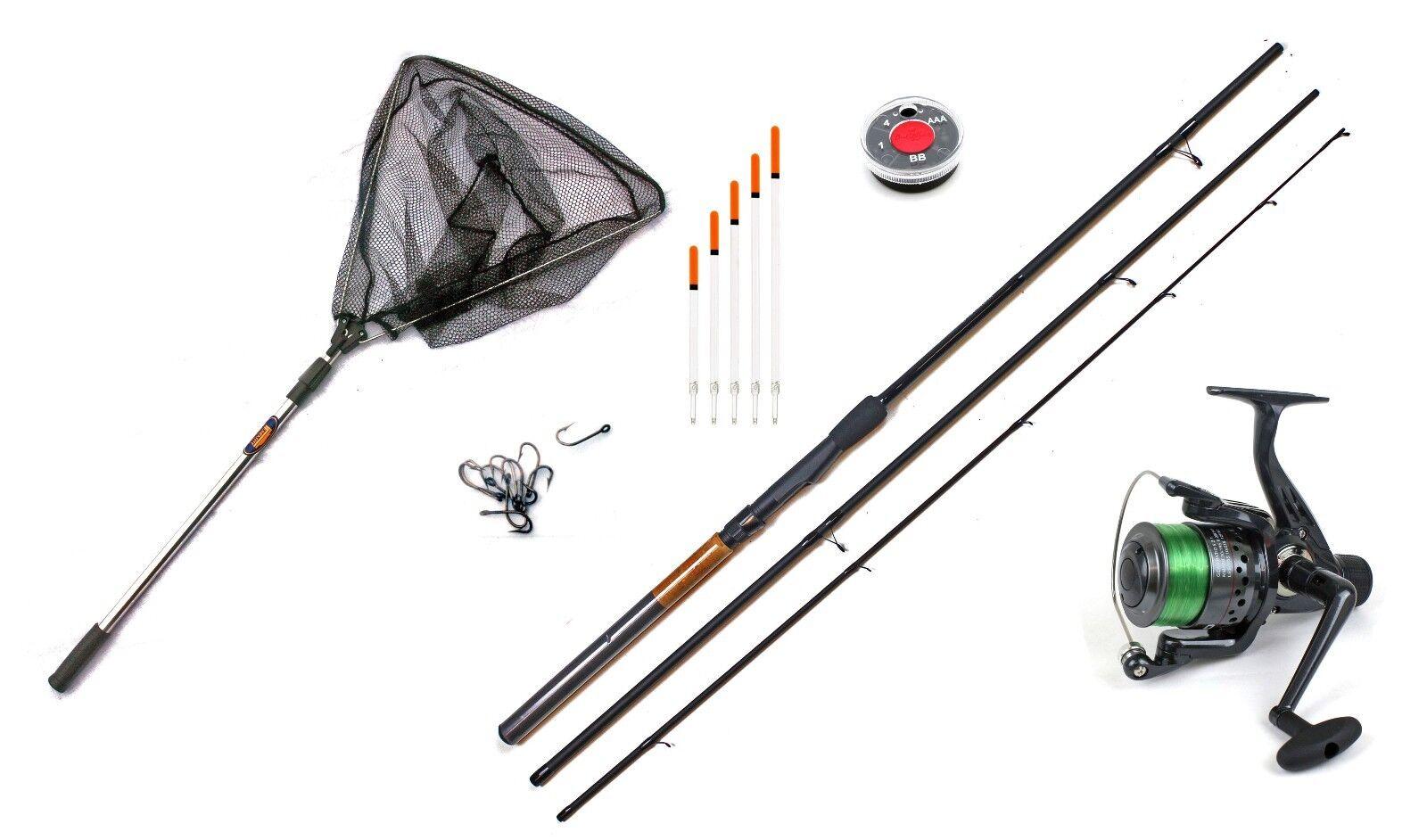 Float fishing starter kit -10ft Match rod,Reel shot,Floats landing net & Hooks