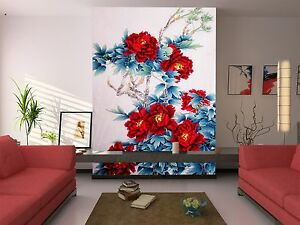 3D Peony painted Wall Paper Print Decal Wall Deco Indoor wall Mural