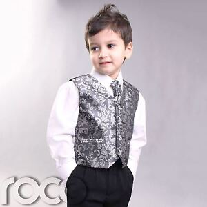 BOYS-KIDS-PROM-CHRISTENING-SILVER-4PC-WAISTCOAT-SUIT