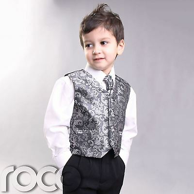 BOYS KIDS PROM CHRISTENING SILVER 4PC WAISTCOAT SUIT