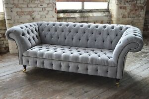 Image Is Loading Modern Handmade Silver Grey Velvet Fabric Chesterfield Sofa