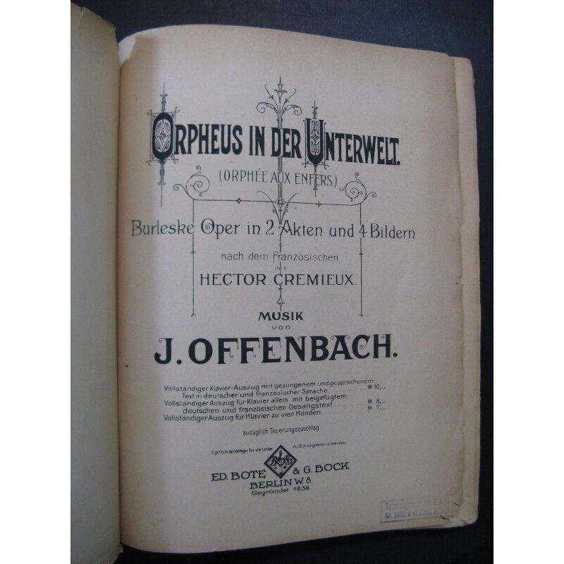 OFFENBACH Jacques Orpheus in der Unterwelt Unterwelt der Opéra Chant Piano partition sheet mus cad50d