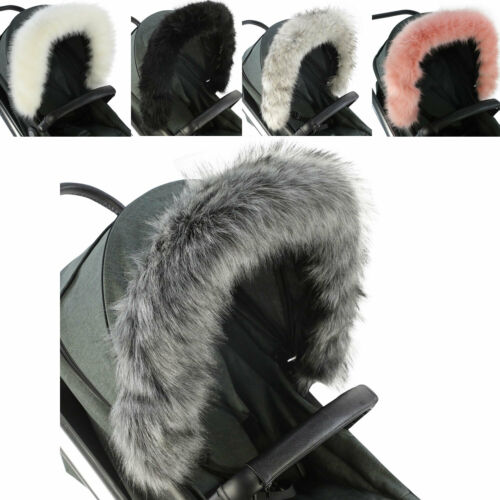 Pram Fur Hood Trim Attachment For Pushchair Compatible with Kiddicouture