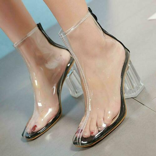 Fashion Womens Clear Block Heels Ankle Boots Transparency Square Toe Boots Shoes
