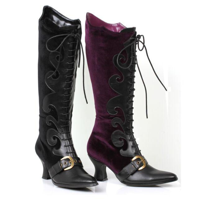 Sexy Knee High Victorian Renaissance Steampunk Witch Costume Boots 253-FAIN