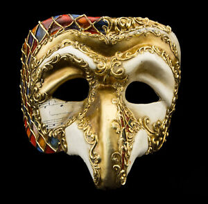 Maschera Di Venezia Polichinelle Carta Cartapesta Mozaic Dorata Altezza Di Gamma