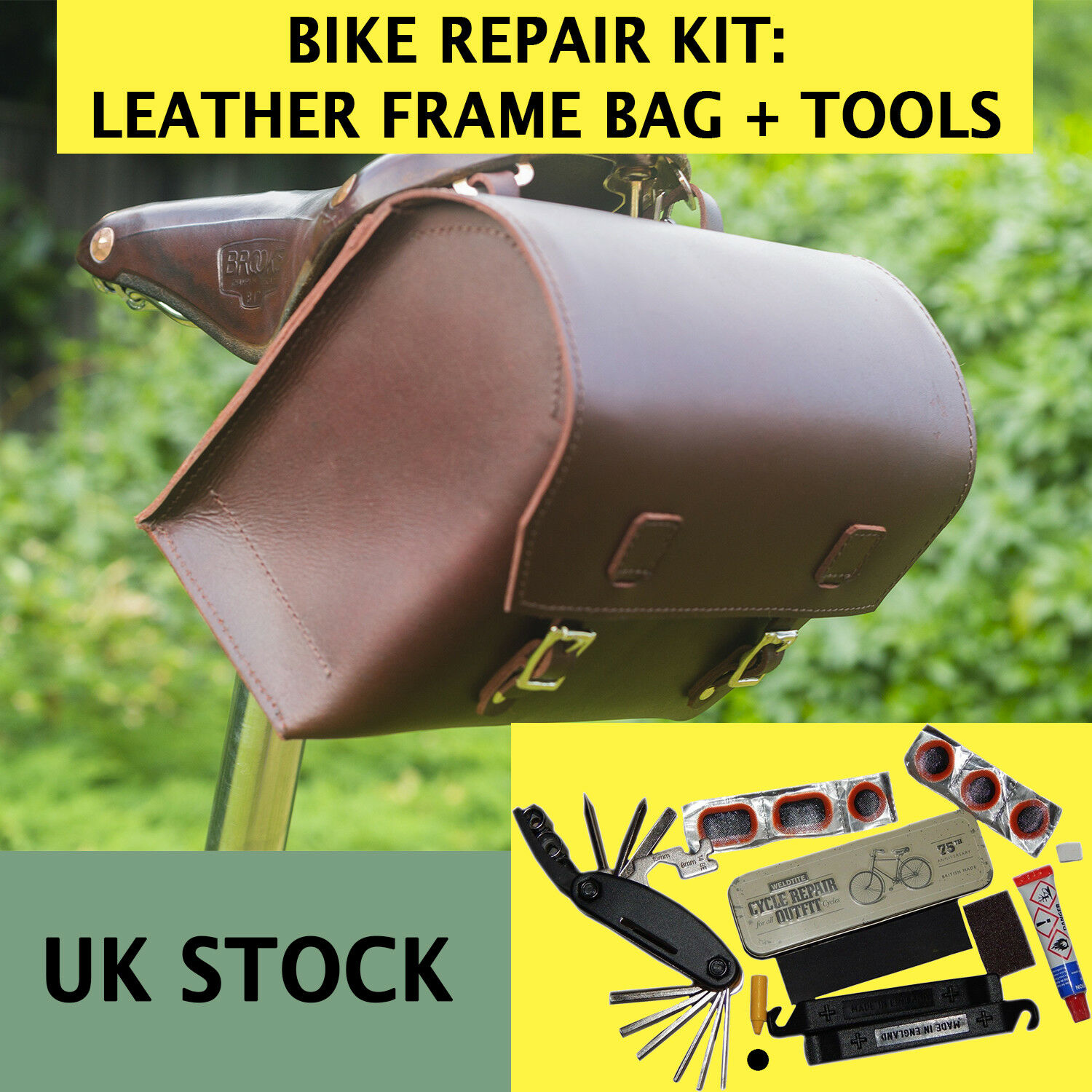 Bike Repair Set  Large Leather Bag (CHERRY)  Puncture Kit, 16in-1 Tool MADE IN UK  the latest models