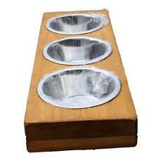Futterstation 3er Hundenapf Fressnapf Futternapf Hunde Katzen 3 x 0,7 l Holz