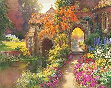 """Dufex Foil Picture Print - Chapel Garden - size 21"""" x 17"""" Large Print"""