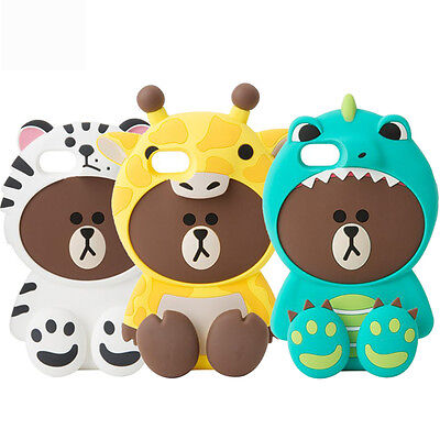 3D Cute Monster Brown Bear Cartoon Soft Silicone Case Cover For Various iPhone