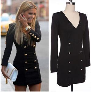 watch 6ead4 ddca0 Details zu Sexy Damen Kleider Langarm Knopf Abendkleid Party Maxikleid Slim  Minikleid new