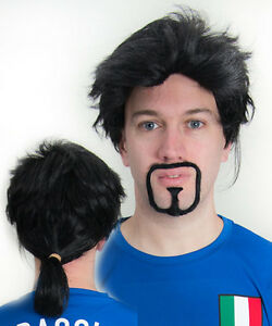 Roberto-Baggio-Italy-Pony-Tail-Wig-amp-Beard-Football-Fancy-Dress-for-Stag-Party