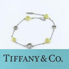 NYJEWEL Tiffany & Co 18K Beautiful Two Tone Gold Heart Link Ladies Bracelet