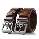 Men Real Leather Fashion Original Waistband Wide Belt Coffee Brown Pin Buckle