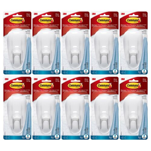 10-Pack Command Large Bathroom Hook with Water-Resistant Strips Adhesive 17600B
