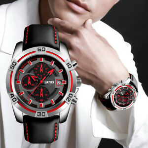 Image is loading Sport-Fashion -Men-Watch-Leather-Quartz-Wristwatches-Chronograph- 57aac195b737