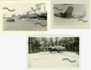 WWII USAAF B-25 bomber 42nd BG Nose Art Morotai Island NEI 1944 3Original Photos
