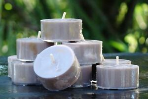 10pk-120hr-pk-SANDALWOOD-amp-HICKORY-Woody-Scented-ECO-Soy-TEA-LIGHT-CANDLES