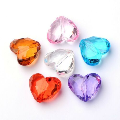 500g Transparent Heart Acrylic Loose Beads Thanksgiving Jewelry Spacer 28.5mm