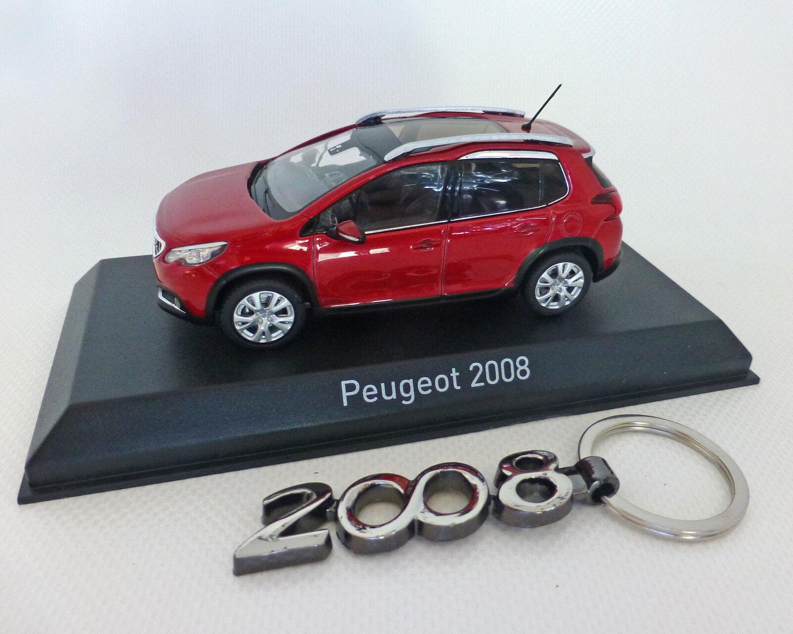 Peugeot 2008 Rouge Métallisé avec Porte-Clés, 1 43, Norev