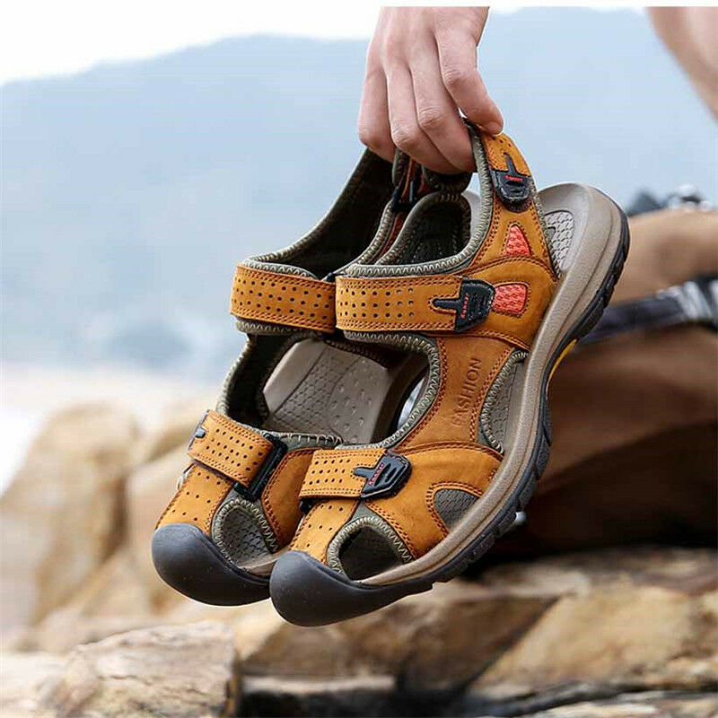 Mens Casual Slipper Sports Leather Sandals Shoes Fisherman Beach Summer Outdoor