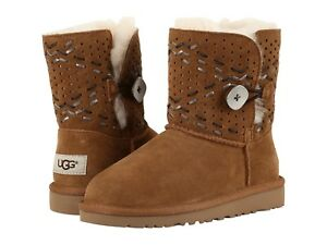 679ba422a2d Details about UGG GIRLS BOOTS BAILEY BUTTON TEHUANO CHESTNUT 3 YOUTH FITS  WOMEN 5 NEW