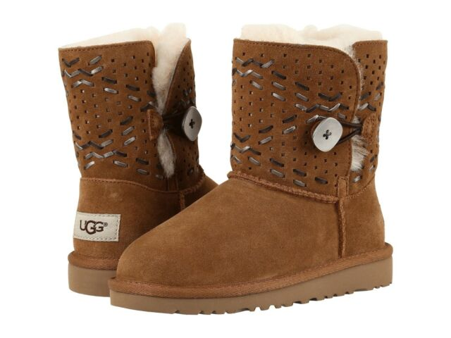 a5c5ea47ad3 UGG Girls BOOTS Bailey Button Tehuano Chestnut 3 Youth Fits Women 5