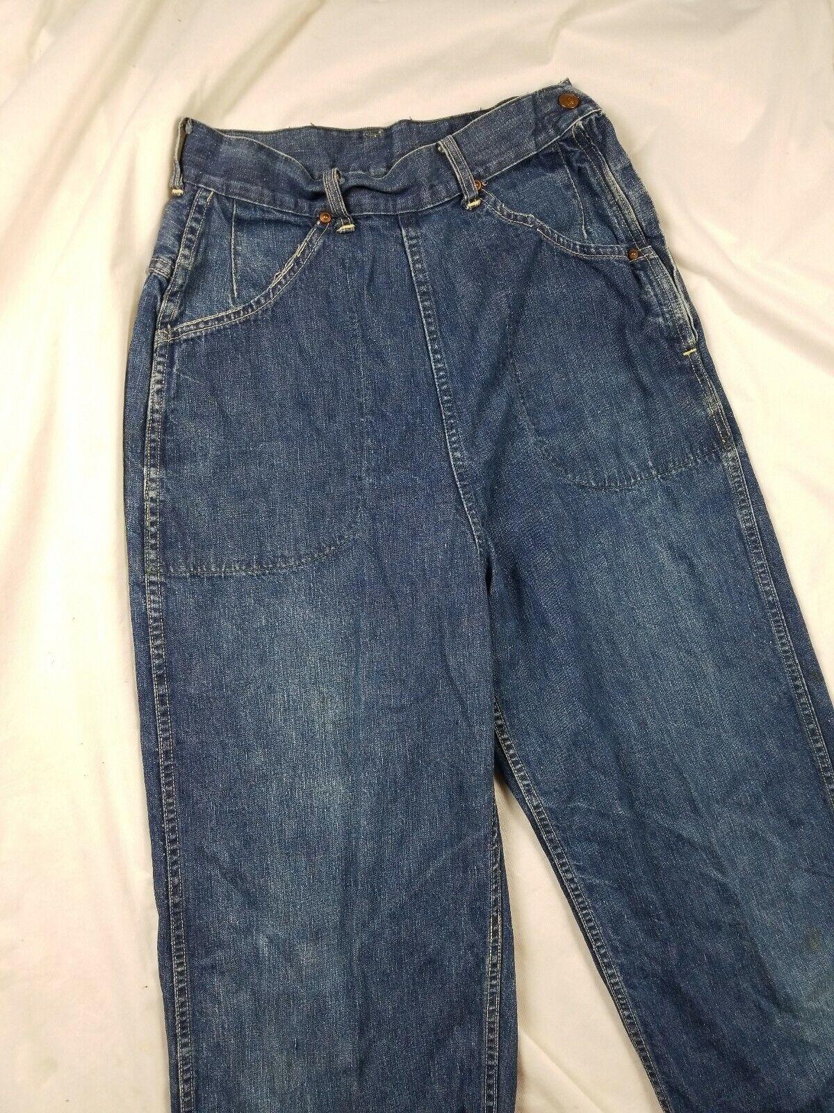 Vintage 1940s Lee High Waisted Side Zip Jeans Usa… - image 2