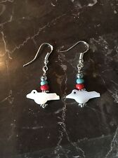 Mop Bird Fetish Dangle Earrings Southwestern Santa Fe Style Sterling .925 Marked