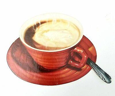 Vintage Cup of Coffee spoon  die cut cardboard sign NOS diner restaurant