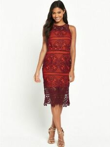46467887 Image is loading BNWT-River-Island-Burgundy-Lace-Evening-Occasion-Midi-