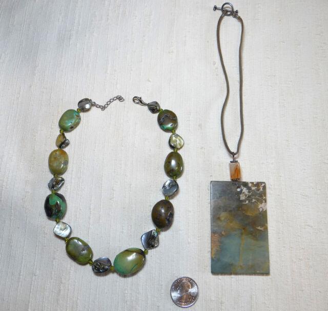 2 Green Jasper Statement Necklaces Hippie Necklaces