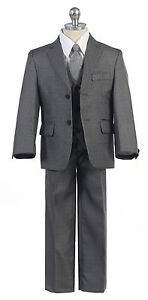Grey Boys Toddler Kid Teen 5-PC Wedding Formal Party Suit Tuxedo w/ Vest sz 2-20