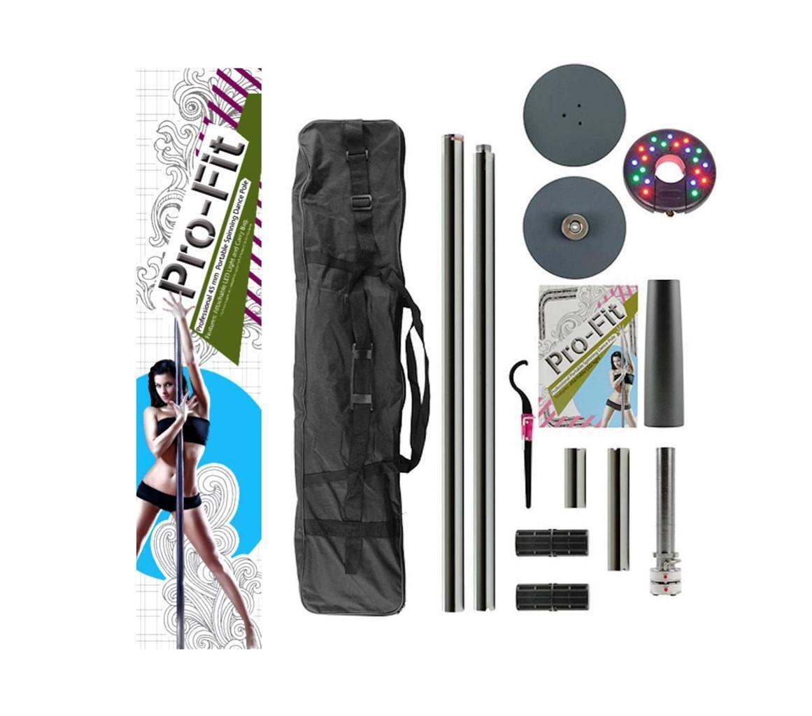 Dance Pole 45mm Pro-fit Profesional Portátil Spinning + Luz LED acoplable