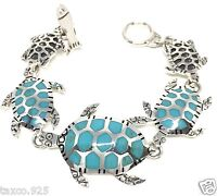 TAXCO MEXICAN STERLING SILVER TURQUOISE TURTLE BRACELET MEXICO